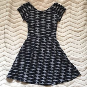 Black and white skater dress with cutout
